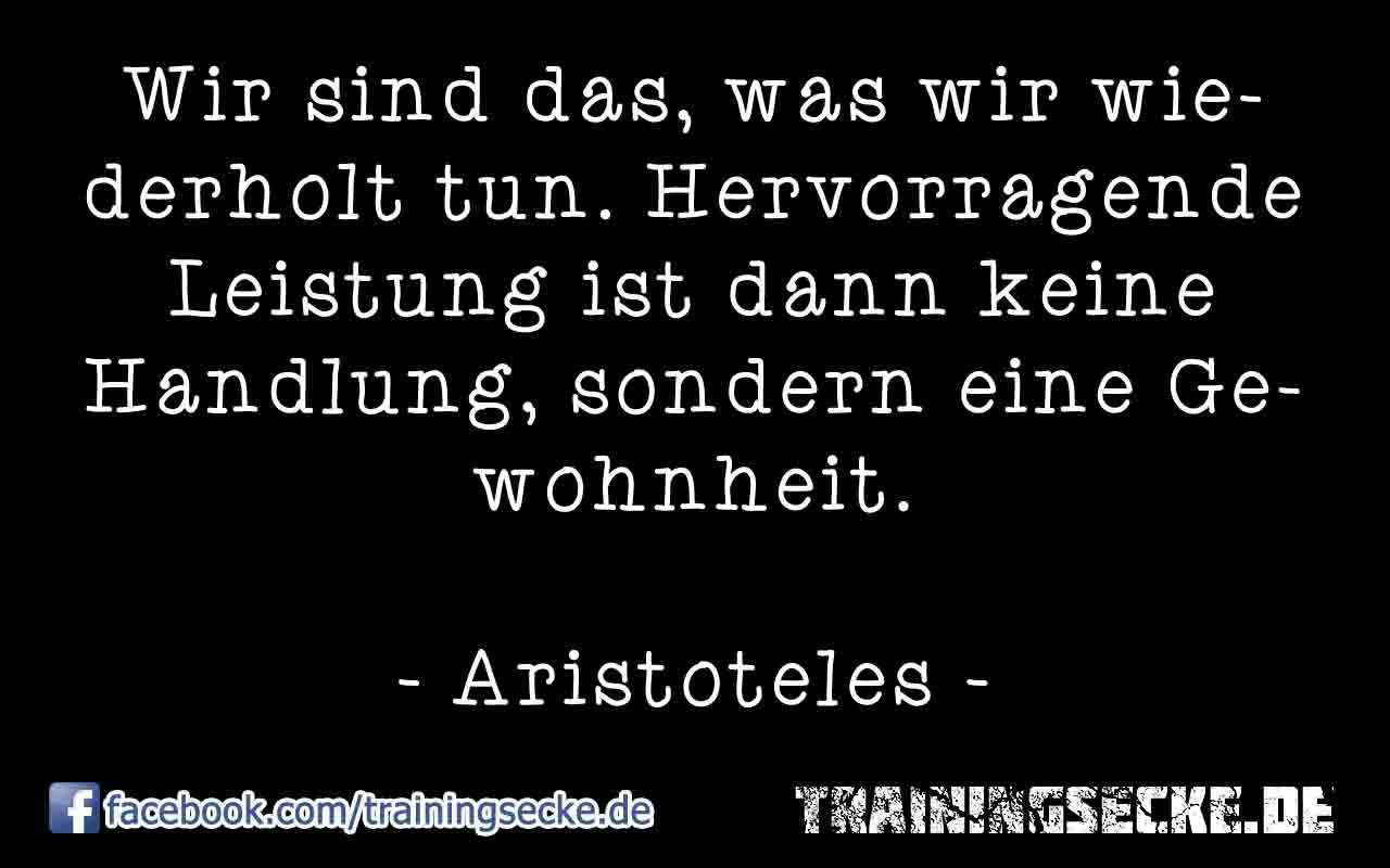 Zitat von Aristoteles: Wir sind das, was wir wiederholt tun. Hervorragende Leistung ist dann keine Handlung, sondern eine Gewohnheit.